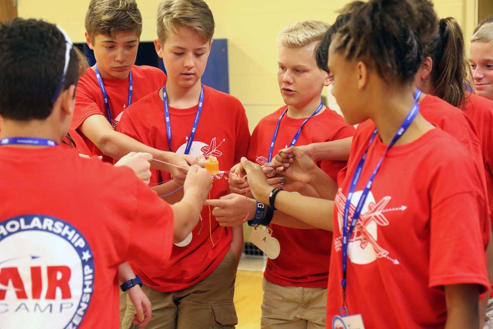science students participating in a group activity