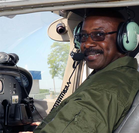 air camp teacher in pilot seat