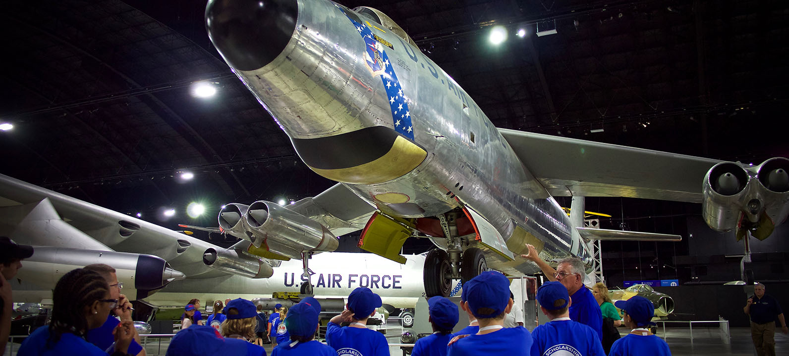 students viewing jet